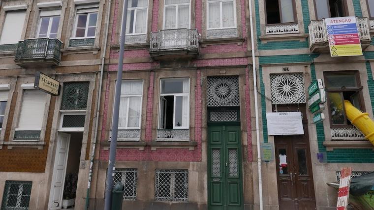 Pink tile house facade in Porto